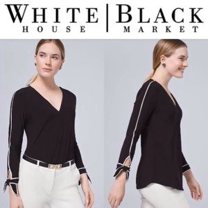 Bow-Cuff Contrast Blouse
